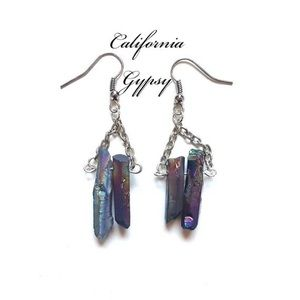 Bohemian silver dangle titanium quartz earrings🌈